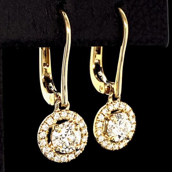 Hearts And Arrows Diamond Halo Earrings, .74Ct Total Weight Image 2 Gerald's Jewelry Oak Harbor, WA