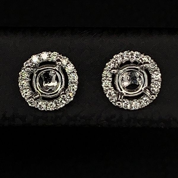 18K White Gold Halo Style Diamond Earrings Image 2 Gerald's Jewelry Oak Harbor, WA