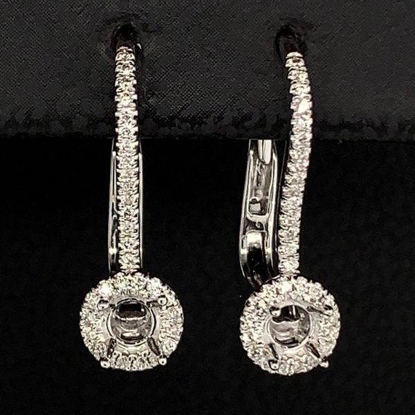 18K White Gold and Diamond Halo Earring Mountings Gerald's Jewelry Oak Harbor, WA