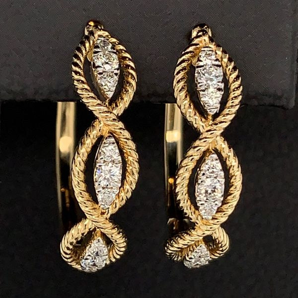 Gabriel & Co. 14K Yellow Gold Diamond Earrings Image 2 Gerald's Jewelry Oak Harbor, WA