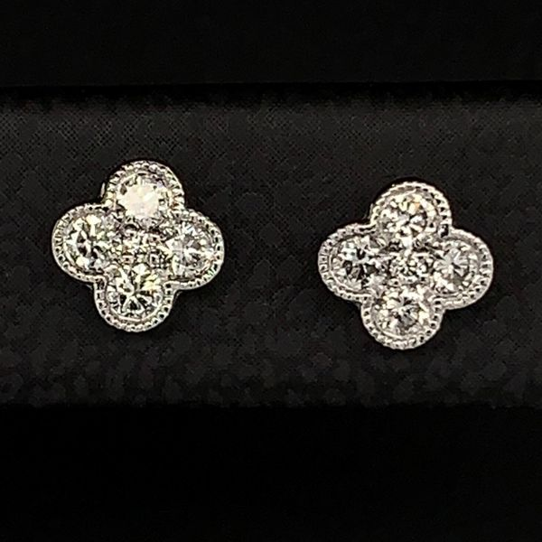Gabriel & Co. 14K White Gold Diamond Earrings Image 2 Gerald's Jewelry Oak Harbor, WA