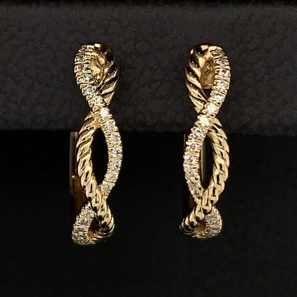 Gabriel & Co. 14K Yellow Gold Twisted Diamond Huggie Earrings Image 2 Gerald's Jewelry Oak Harbor, WA