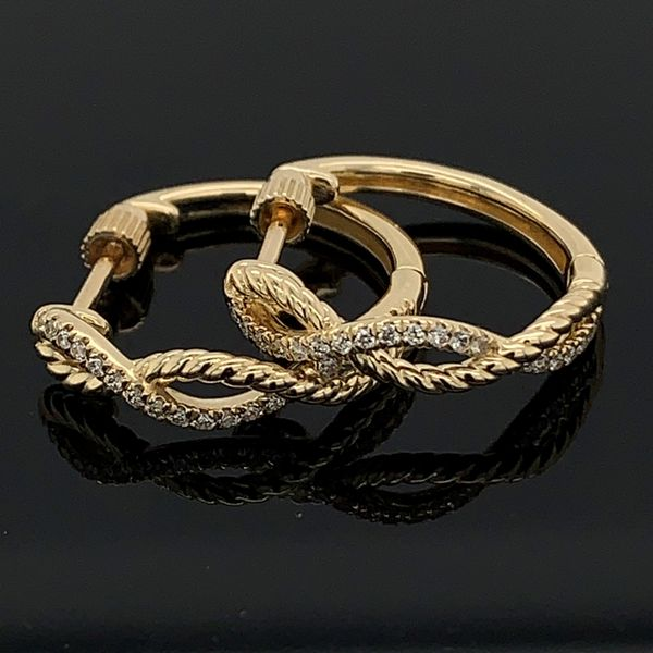 Gabriel & Co. 14K Yellow Gold Twisted Diamond Huggie Earrings Gerald's Jewelry Oak Harbor, WA