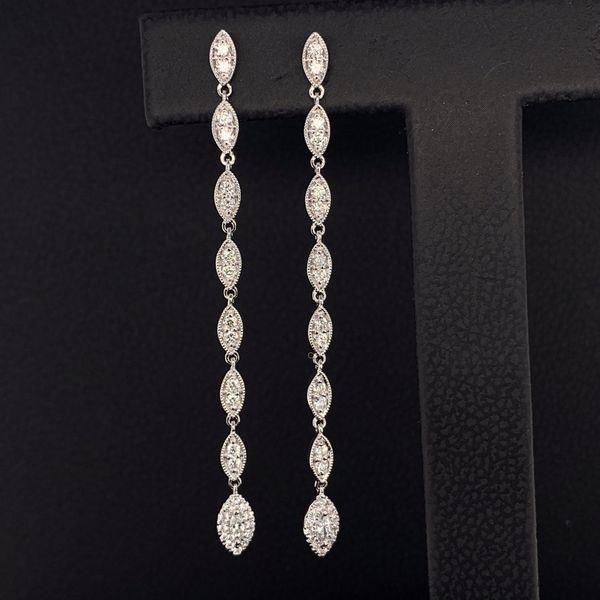 18K White Gold and Diamond Dangle Earrings Gerald's Jewelry Oak Harbor, WA