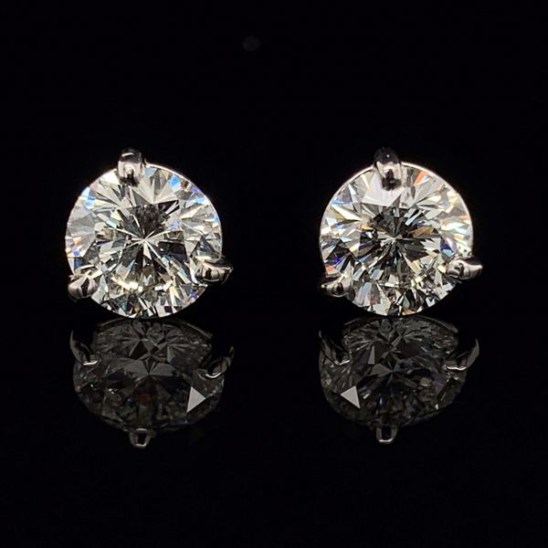 Round Brilliant 97 Facet, 2.00Ct Total Weight Diamond Stud Earrings Gerald's Jewelry Oak Harbor, WA