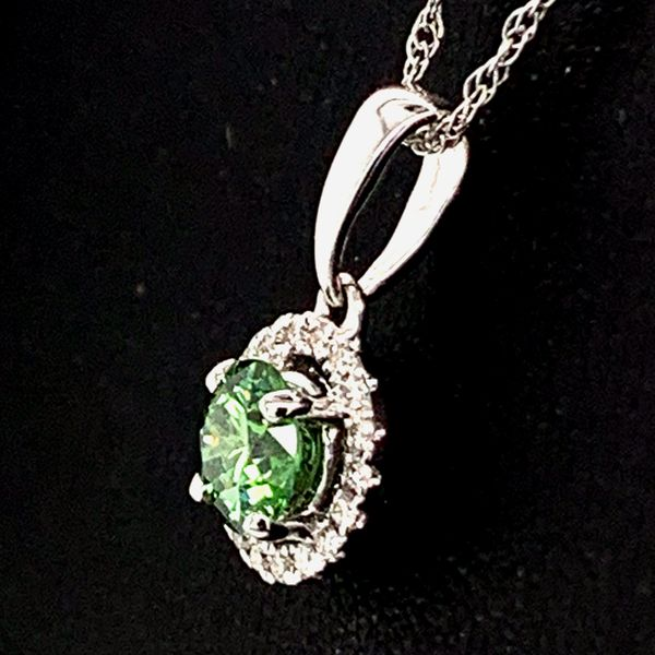 Hearts And Arrows Green Diamond Halo Pendant Image 2 Gerald's Jewelry Oak Harbor, WA