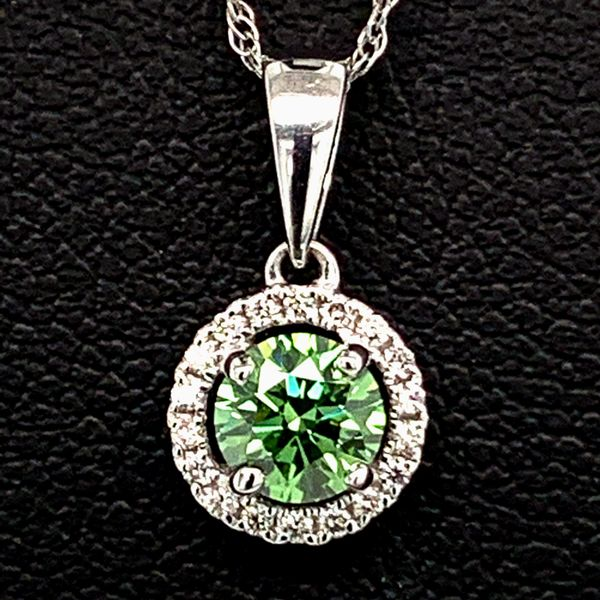 Hearts And Arrows Green Diamond Halo Pendant Gerald's Jewelry Oak Harbor, WA