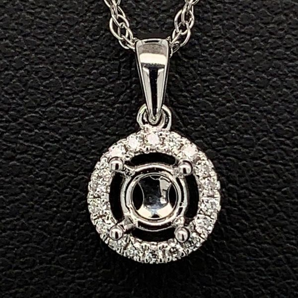 18K Diamond Halo Pendant Mounting Gerald's Jewelry Oak Harbor, WA