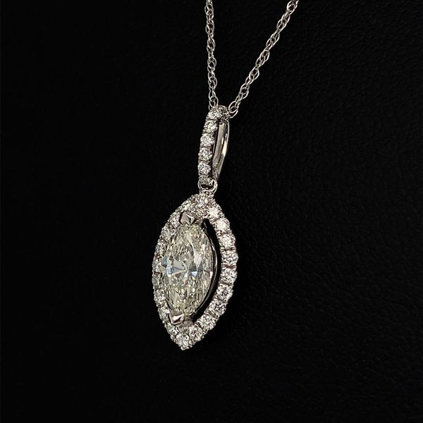 18K White Gold and Diamond Marquise Shape Halo Pendant Image 2 Gerald's Jewelry Oak Harbor, WA