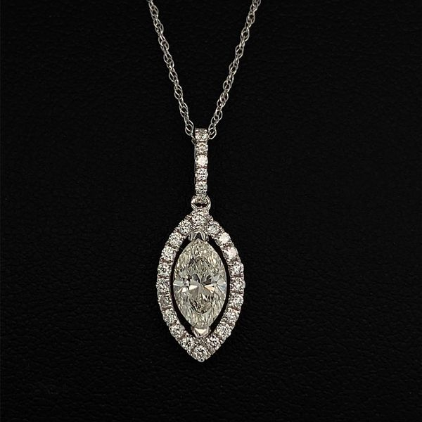 18K White Gold and Diamond Marquise Shape Halo Pendant Gerald's Jewelry Oak Harbor, WA