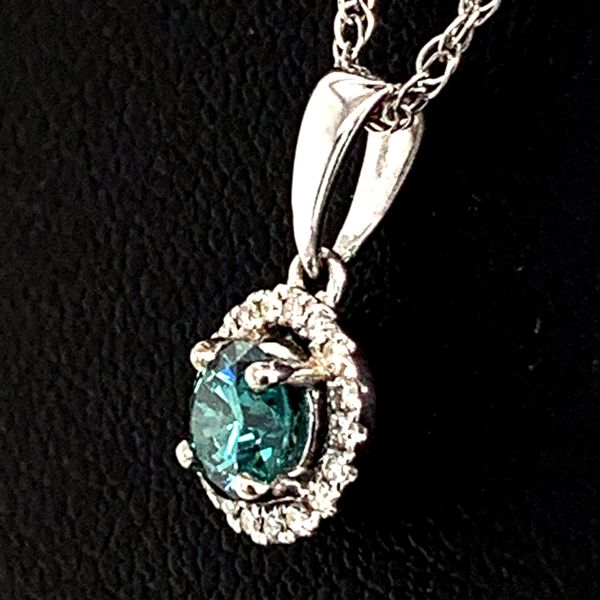Blue/Green And White Diamond Halo Style Pendant Image 2 Geralds Jewelry Oak Harbor, WA