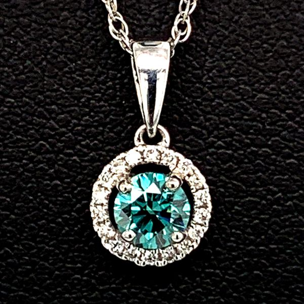Blue/Green And White Diamond Halo Style Pendant Geralds Jewelry Oak Harbor, WA