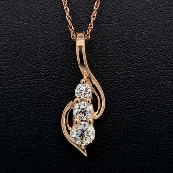 .50ct Total Weight Hearts And Arrows Diamond Three Stone Pendant Gerald's Jewelry Oak Harbor, WA