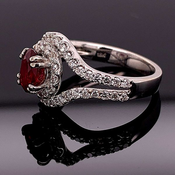 1.10Ct Oval Madagascar Ruby And Diamond Ring Image 2 Geralds Jewelry Oak Harbor, WA