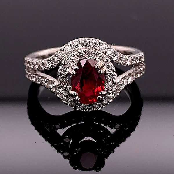 1.10Ct Oval Madagascar Ruby And Diamond Ring Geralds Jewelry Oak Harbor, WA