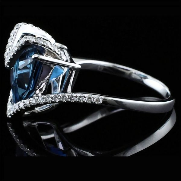 Ladies London Blue Topaz and Diamond Fashion Ring Image 2 Gerald's Jewelry Oak Harbor, WA