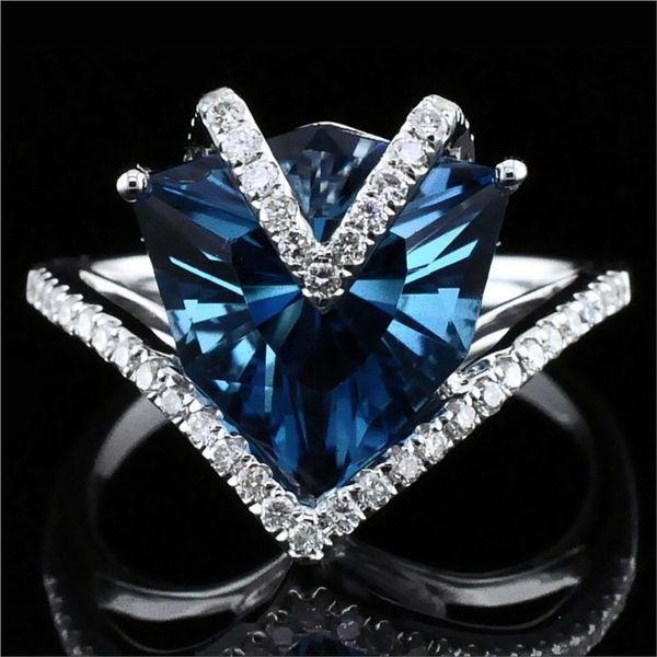 Ladies London Blue Topaz and Diamond Fashion Ring Gerald's Jewelry Oak Harbor, WA