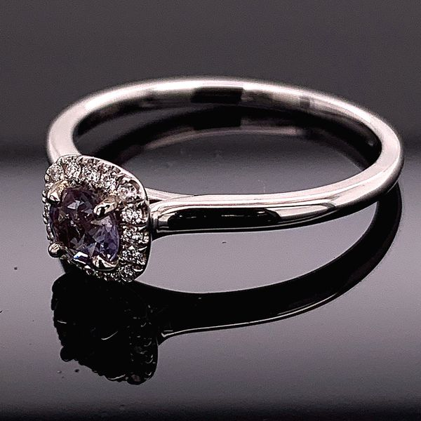 18K White Gold, Alexandrite And Diamond Ring Image 2 Gerald's Jewelry Oak Harbor, WA