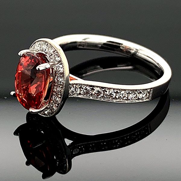 Ladies 18K, Fire Ruby and Diamond Ring Image 2 Gerald's Jewelry Oak Harbor, WA
