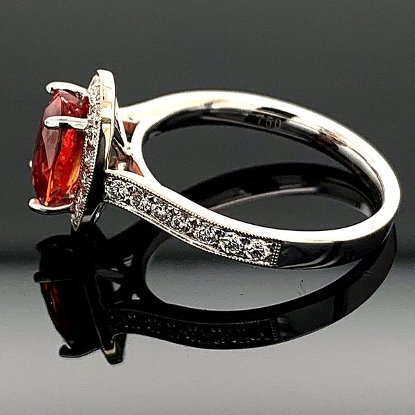 Ladies 18K, Fire Ruby and Diamond Ring Image 3 Gerald's Jewelry Oak Harbor, WA