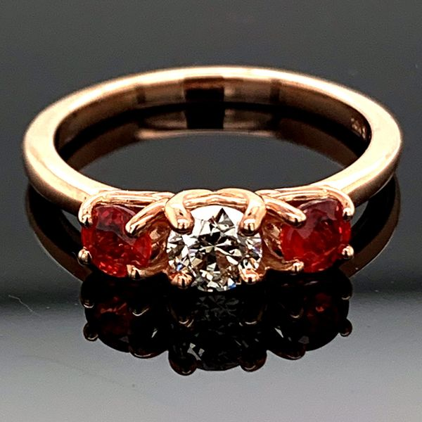 Fire Ruby And Diamond Three Stone Ring Gerald's Jewelry Oak Harbor, WA