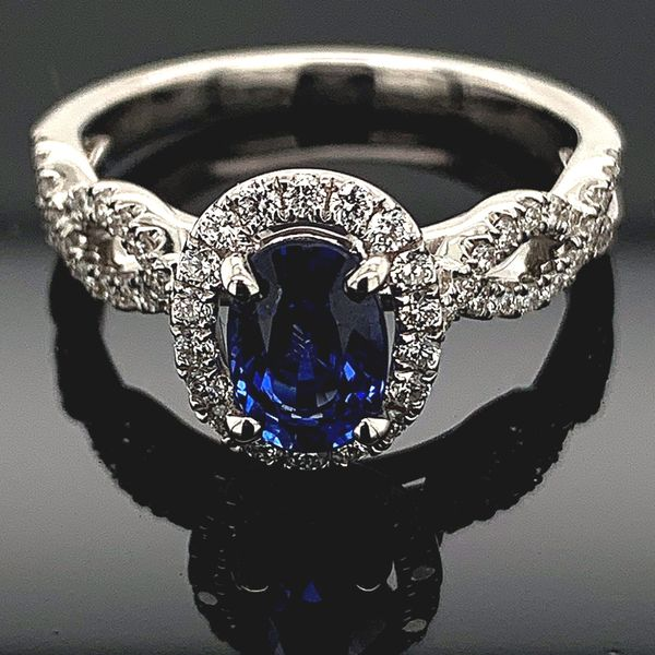 18K Blue Sapphire and Diamond Ring Gerald's Jewelry Oak Harbor, WA