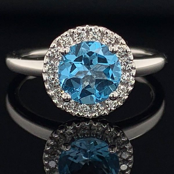 Blue Topaz And Diamond Halo Style Ladies Ring Gerald's Jewelry Oak Harbor, WA