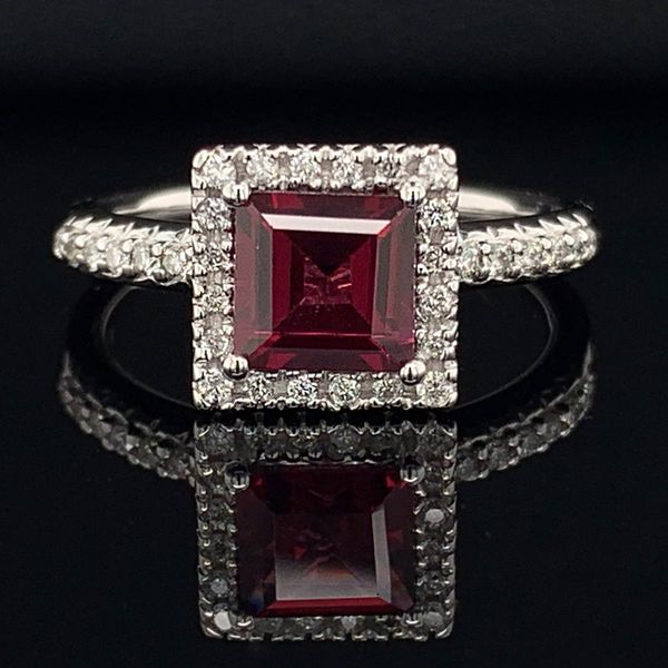 Rhodolite Garnet And Diamond Halo Style Ladies Ring Gerald's Jewelry Oak Harbor, WA
