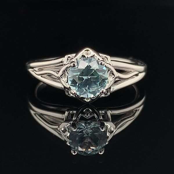 1.01ct Montana Sapphire Floral Style Solitaire Ring Geralds Jewelry Oak Harbor, WA