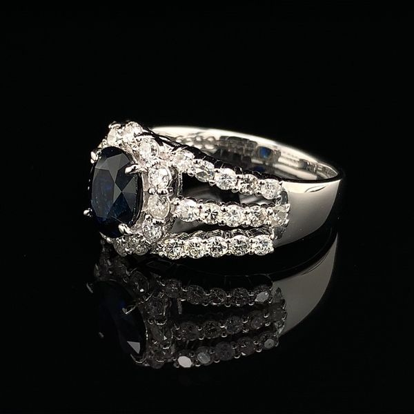 Oval Blue Sapphire And Diamond Halo Style Ring Image 2 Geralds Jewelry Oak Harbor, WA