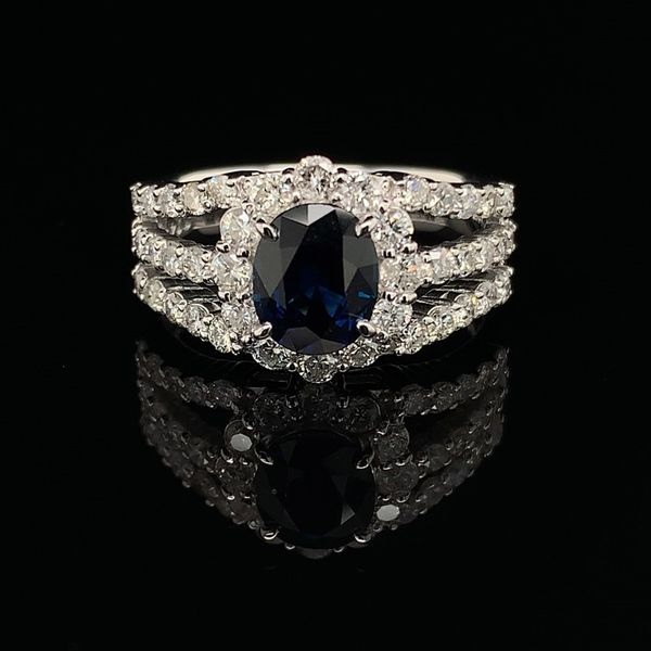 Oval Blue Sapphire And Diamond Halo Style Ring Geralds Jewelry Oak Harbor, WA