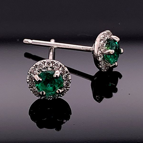 18K White Gold Emerald and Diamond Earrings Gerald's Jewelry Oak Harbor, WA