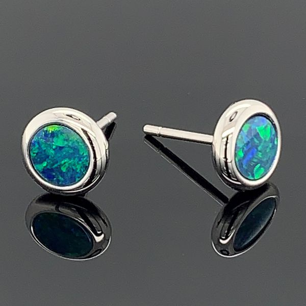 Australian Opal Doublet Earrings Gerald's Jewelry Oak Harbor, WA