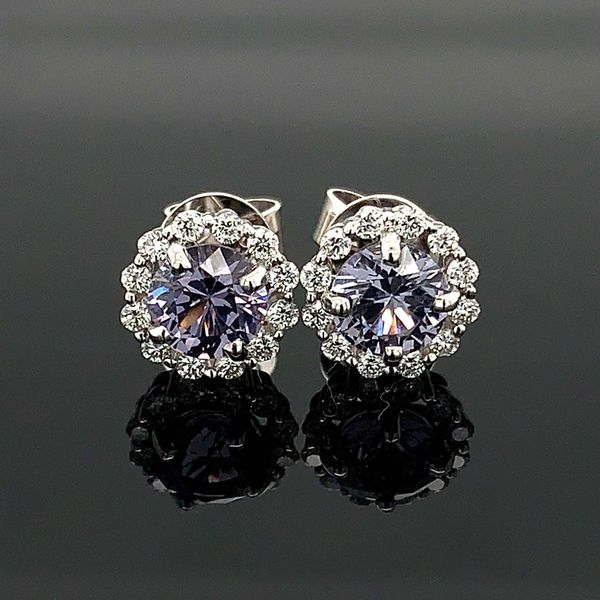Light Purple Spinel And Diamond Halo Earrings Geralds Jewelry Oak Harbor, WA