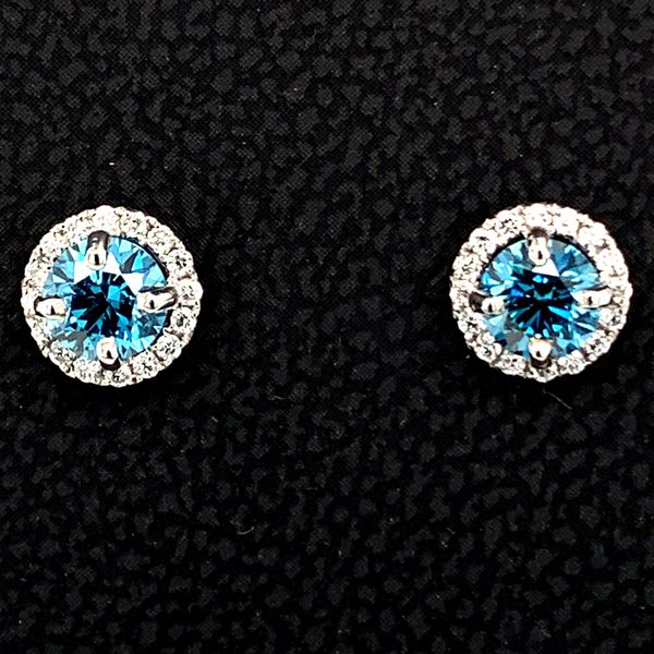 18K White Gold Blue and White Diamond Halo Earrings Image 2 Gerald's Jewelry Oak Harbor, WA