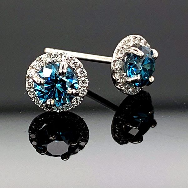 18K White Gold Blue and White Diamond Halo Earrings Gerald's Jewelry Oak Harbor, WA