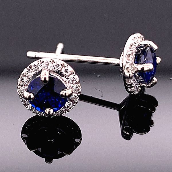 18K White Gold Sapphire and Diamond Halo Earrings Gerald's Jewelry Oak Harbor, WA