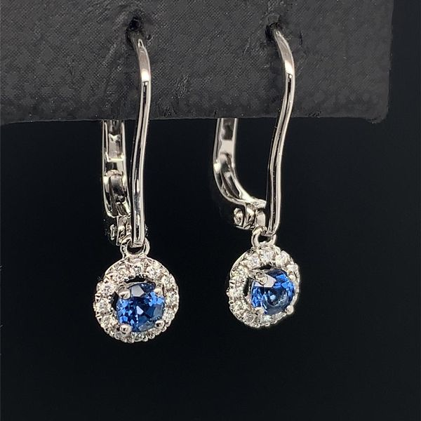18K White Gold, Sapphire And Diamond Halo Style Dangle Earrings Image 2 Geralds Jewelry Oak Harbor, WA