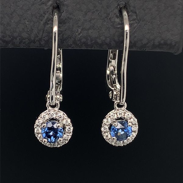 18K White Gold, Sapphire And Diamond Halo Style Dangle Earrings Geralds Jewelry Oak Harbor, WA
