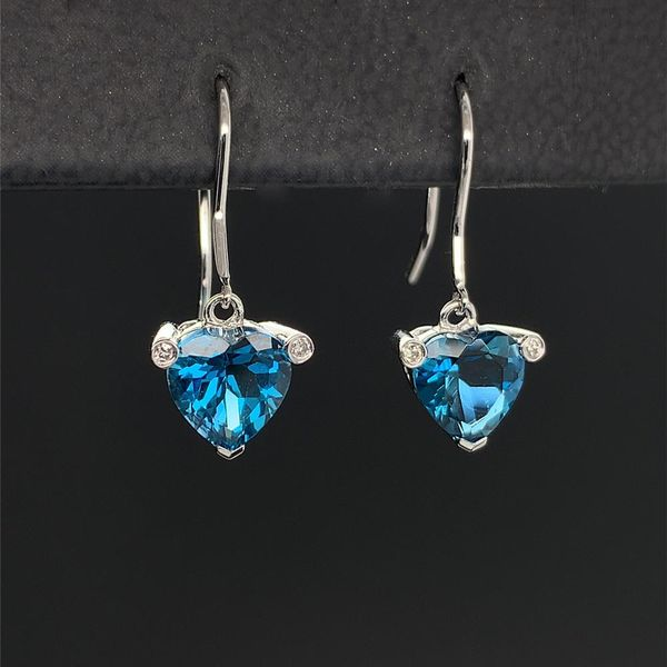 Heart Shape London Blue Topaz Diamond Drop Earrings Image 2 Geralds Jewelry Oak Harbor, WA