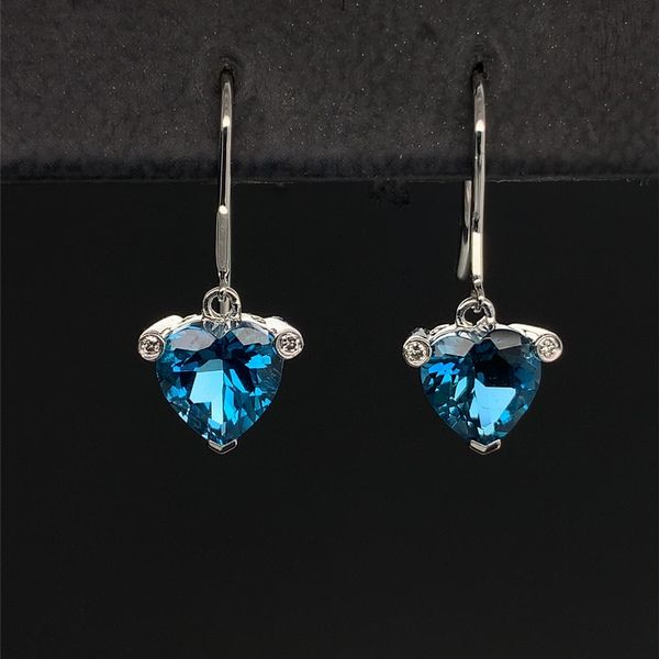 Heart Shape London Blue Topaz Diamond Drop Earrings Geralds Jewelry Oak Harbor, WA
