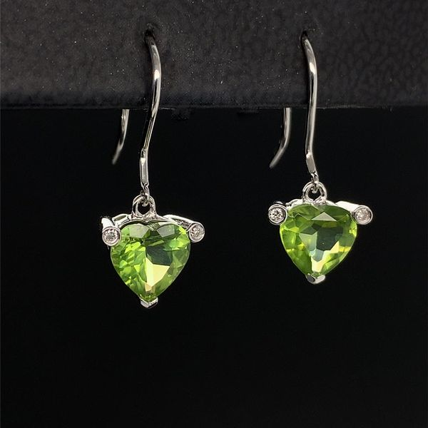 Heart Shape Peridot and Diamond Earrings Image 2 Geralds Jewelry Oak Harbor, WA