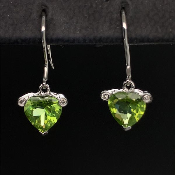 Heart Shape Peridot and Diamond Earrings Geralds Jewelry Oak Harbor, WA