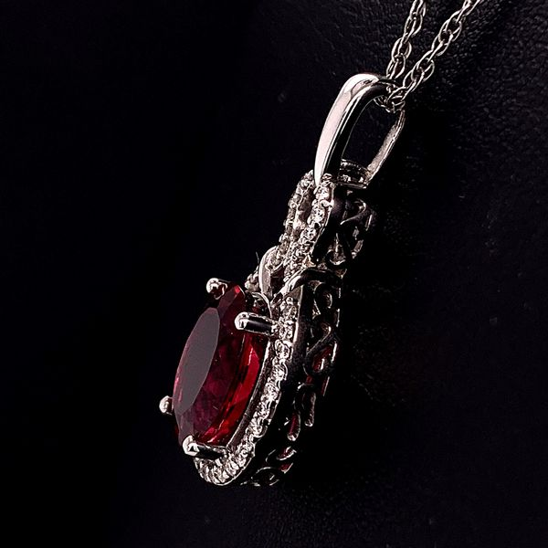 18K Rubellite and Diamond Pendant Image 2 Gerald's Jewelry Oak Harbor, WA