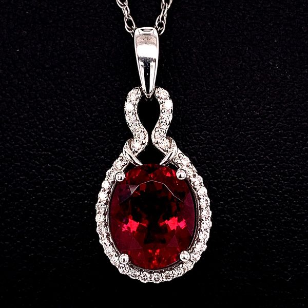 18K Rubellite and Diamond Pendant Gerald's Jewelry Oak Harbor, WA