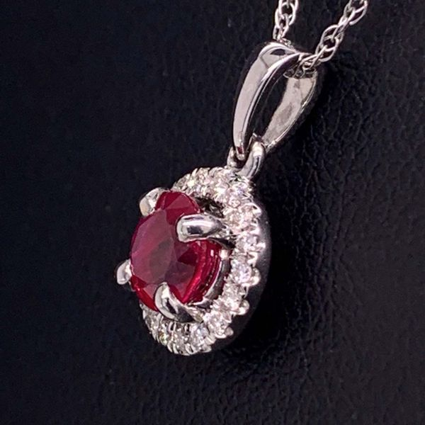 .51Ct Ruby And Diamond Halo Style Pendant Image 2 Geralds Jewelry Oak Harbor, WA