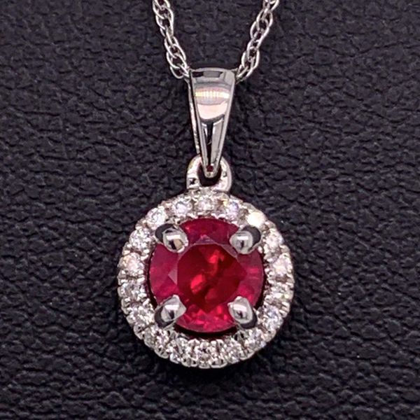 .51Ct Ruby And Diamond Halo Style Pendant Gerald's Jewelry Oak Harbor, WA