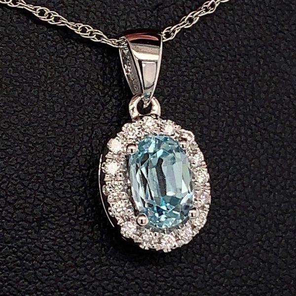 Blue Zircon and Diamond Halo Pendant Image 2 Gerald's Jewelry Oak Harbor, WA