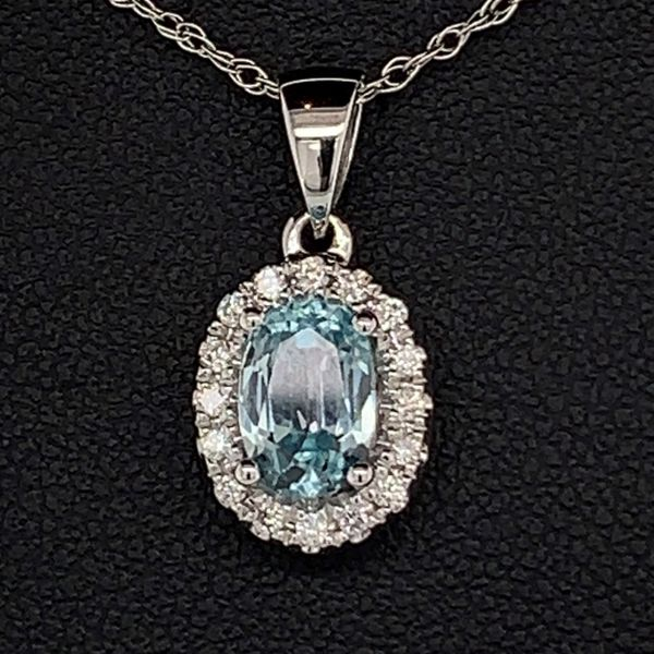 Blue Zircon and Diamond Halo Pendant Gerald's Jewelry Oak Harbor, WA