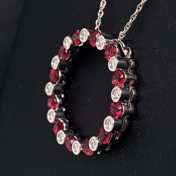 Ruby and Diamond Circle Pendant Image 2 Gerald's Jewelry Oak Harbor, WA